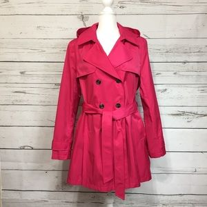 DKNY Pink Lined Trench Coat Women XL